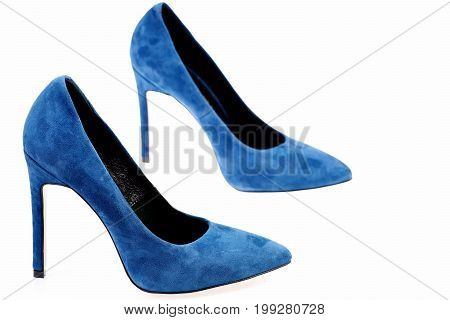 Pair Of Blue Suede Shoes As Fashion And Beauty Concept