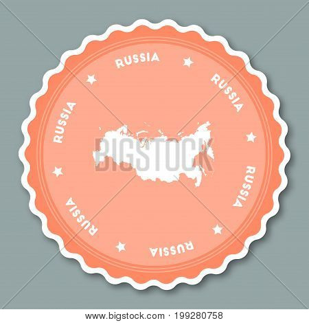 Russian Federation Sticker Flat Design. Round Flat Style Badges Of Trendy Colors With Country Map An