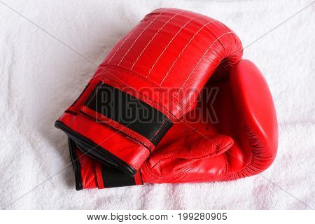 Boxing Gloves In Red Colour Made Of Leather