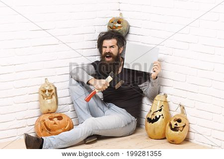 Hipster With Golden Pumpkins