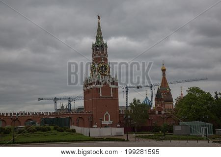 Famous Spasskaya watchtower Moscow Russia June 2017