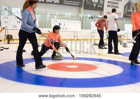 Svetlogorsk, Russia - August 5, 2017: Team members play in curling during IX international Medexpert Curling Cup