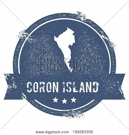 Coron Island Logo Sign. Travel Rubber Stamp With The Name And Map Of Island, Vector Illustration. Ca