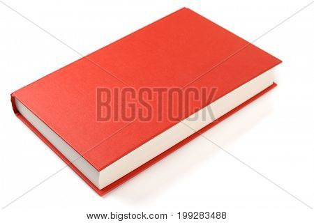 Bright red book isolated on white background with smooth shadow and reflection