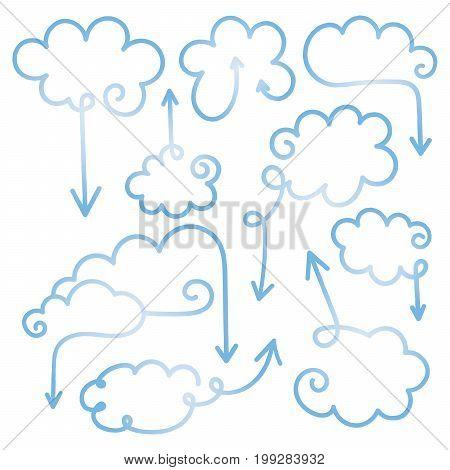Set of speech bubbles with arrows. Empty cloud citation template. Design element for business card, paper sheet, information, note, message, motivation, comment. Vector illustration.
