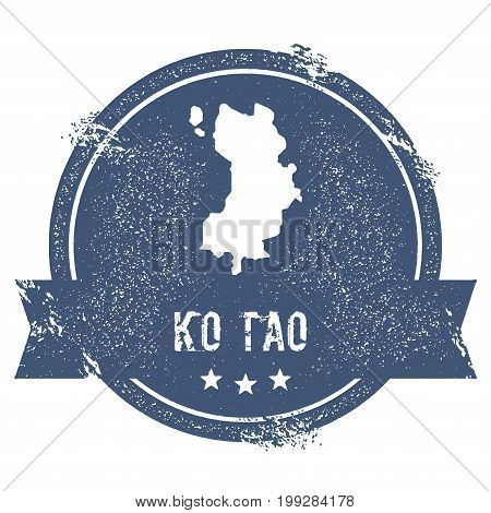 Ko Tao Logo Sign. Travel Rubber Stamp With The Name And Map Of Island, Vector Illustration. Can Be U