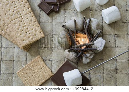 Flat Lay Camp Fire S'mores Deconstructed