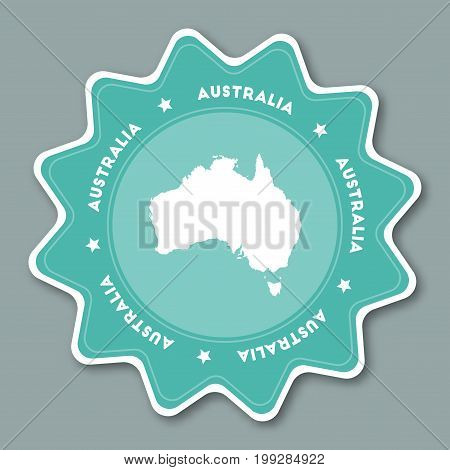 Australia Map Sticker In Trendy Colors. Star Shaped Travel Sticker With Country Name And Map. Can Be