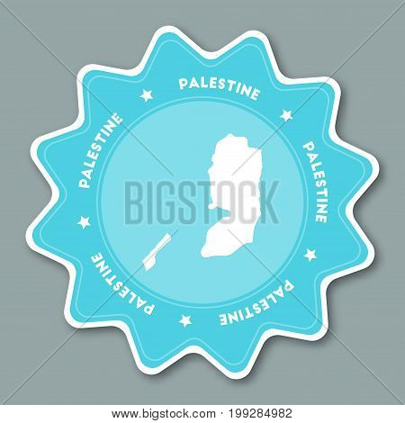 Palestine Map Sticker In Trendy Colors. Star Shaped Travel Sticker With Country Name And Map. Can Be
