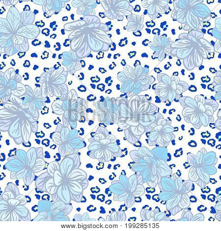 Vector seamless background with colorful illustration the skin of a leopard or Cheetah with flowers. Can be used for wallpaper, pattern fills, web page, surface textures, textile print, wrapping paper