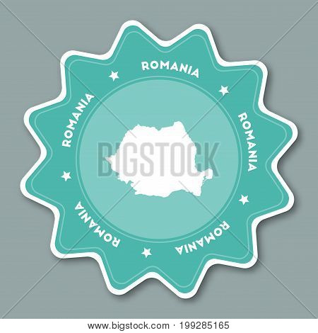 Romania Map Sticker In Trendy Colors. Star Shaped Travel Sticker With Country Name And Map. Can Be U