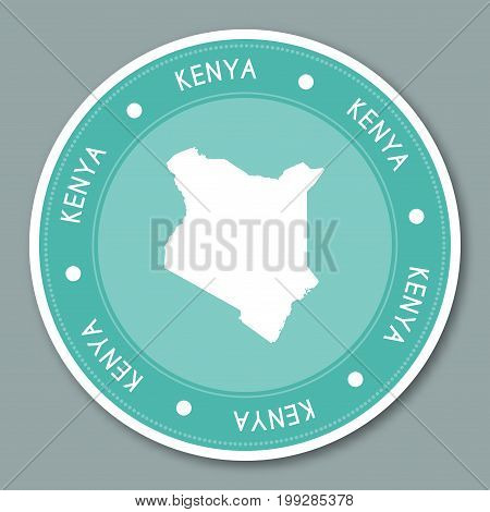 Kenya Label Flat Sticker Design. Patriotic Country Map Round Lable. Country Sticker Vector Illustrat