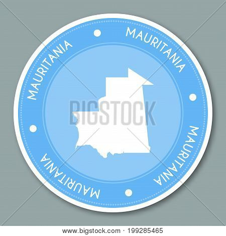 Mauritania Label Flat Sticker Design. Patriotic Country Map Round Lable. Country Sticker Vector Illu