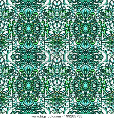 Vector seamless background with colorful abstract shape and lines of vegetative character in a modern style. Can be used for wallpaper, pattern fills, web page, textures, textile print, wrapping paper