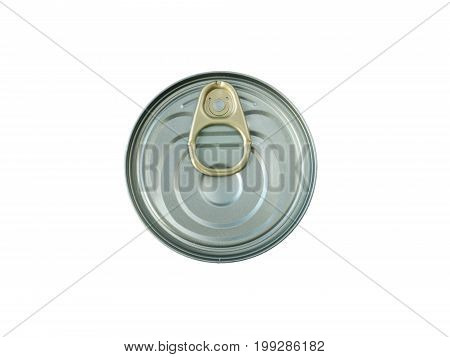 Metallic can with a key opener top view isolated on white