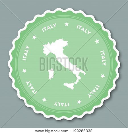 Italy Sticker Flat Design. Round Flat Style Badges Of Trendy Colors With Country Map And Name. Count