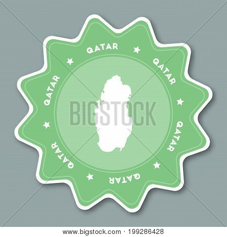 Qatar Map Sticker In Trendy Colors. Star Shaped Travel Sticker With Country Name And Map. Can Be Use