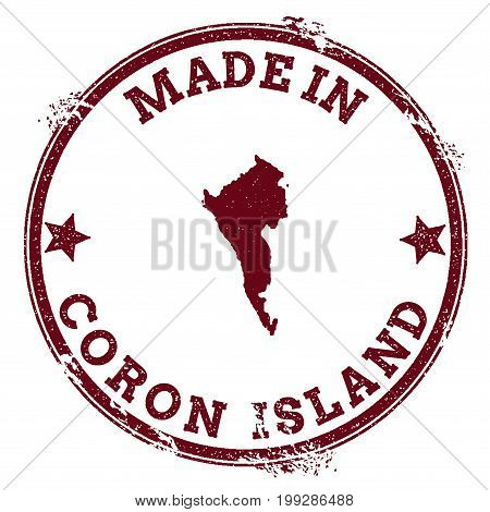 Coron Island Seal. Vintage Island Map Sticker. Grunge Rubber Stamp With Made In Text And Map Outline
