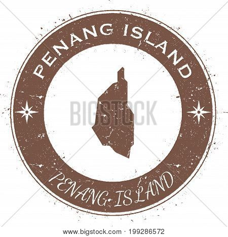 Penang Island Circular Patriotic Badge. Grunge Rubber Stamp With Island Flag, Map And Name Written A