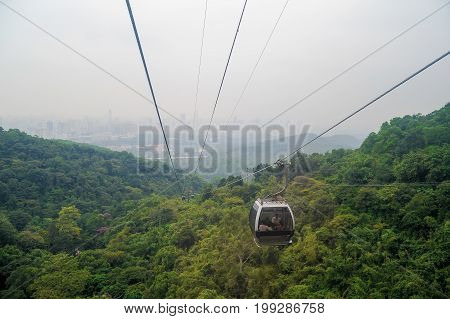 Cityscape view from cable car in Bayun mountain Guangzhou China