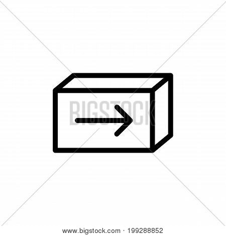 Line Shipping Box Icon On White Background