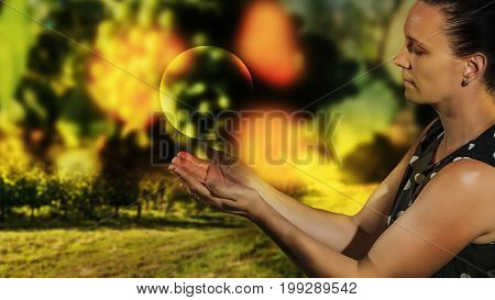 Female model with a ball in her hand, fantasy
