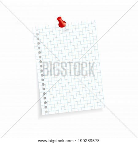 white colored checkered scrap of paper with pin needle