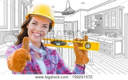 Female Construction Worker With Thumbs Up Holding Level In Front of Custom Kitchen Drawing
