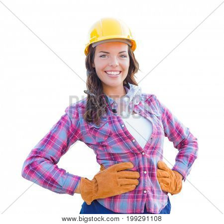 Young Attractive Female Construction Worker Wearing Gloves, Hard Hat and Protective Goggles Isolated on White.