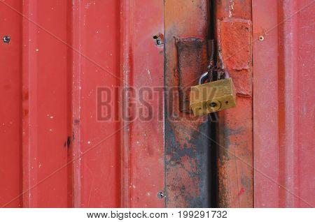 old lock on the red door safty