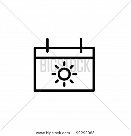 Vacation Calendar Icon Thin Line Black On White Background
