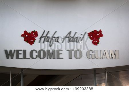 GUAM, USA--Photo taken in December 2016 of a big welcome to Guam sign at the arrival area of the Guam International Airport.