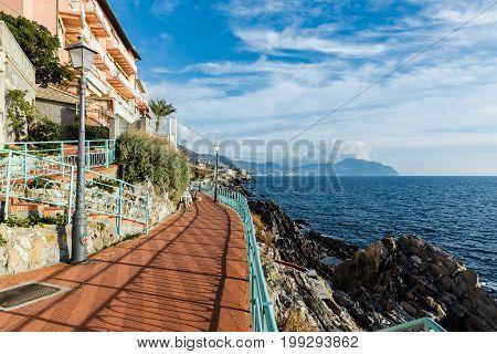 December 2016: anita garibaldi walk genova nervi liguria italy Is a spectacular pedestrian path that crosses the sea