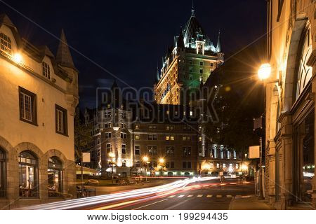 Streets of old Quebec city near Fairmont Le Chateau Frontenac. Canada