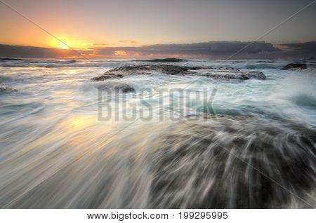 Ocean Flowing Over Rocks Bungan Beach