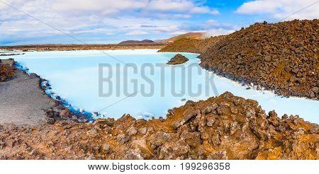Reykjanes peninsula geothermal pool iceland in summer