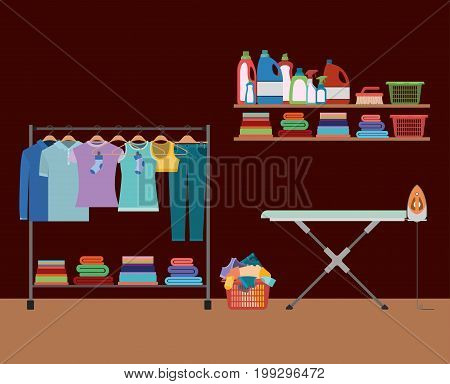 brick wall background of clothes in hangers with table and clothes iron and elements of home laundry vector illustration