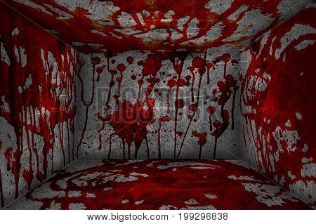 red blood on dark concrete room illustration background