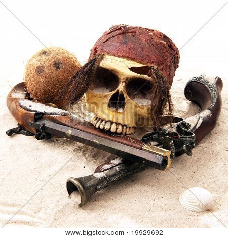 Pirate skull at the beach