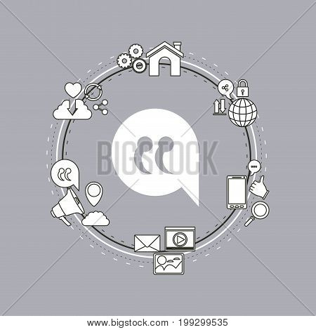 color background of circular frame of tech share internet icons and closeup silhouette bubble dialog box vector illustration