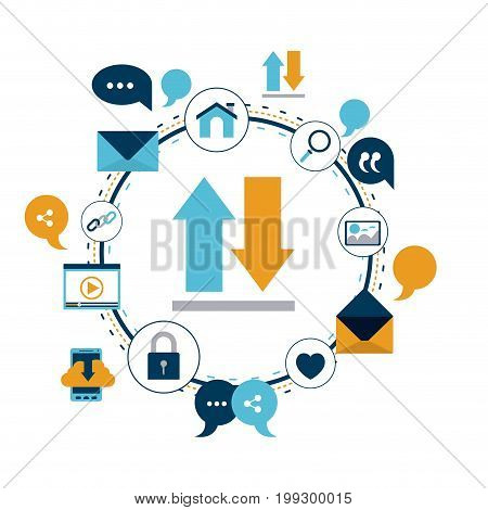 white background of colorful circular frame of tech share internet icons and closeup arrows download and upload vector illustration