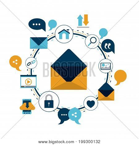 white background of colorful circular frame of tech share internet icons and closeup enveloped mail vector illustration