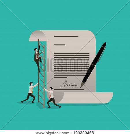 color background with businessman climbing wooden stairs in a big contract document with pen and firm vector illustration