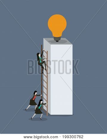 color background with businesswomen climbing wooden stairs in a big rectangular block with light bulb in the top vector illustration