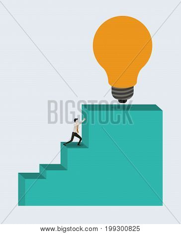 white background with businessman pushing stair block structure with light bulb in the top vector illustration