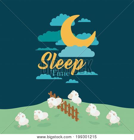 color scene night landscape of sleep time with sheeps jump wooden fence vector illustration