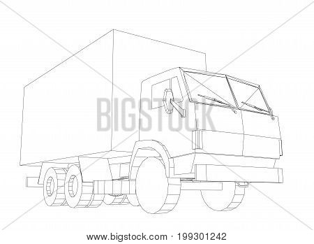 Truck with cargo container. Transportation concept. Vector rendering of 3d. Wire-frame style