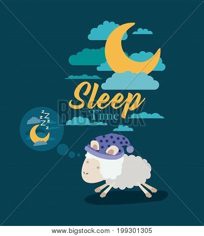 color poster scene sky landscape of sleep time with sheeps thinking in the night vector illustration
