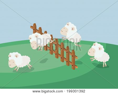 color poster scene landscape of sleep time with sheeps jump wooden fence vector illustration