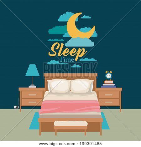 color poster scene night landscape of cute bedroom sleep time vector illustration